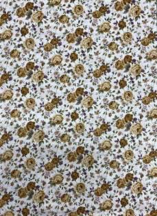 Patchworkstoff Stoff Quilt Goldene/hellbraune Rosen Sevenberry