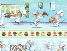Patchworkstoff Stoff Quilt Mice Chef 11″ Stripe / Koch Mäuse Konditor 28cm Border