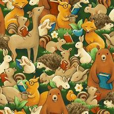 Patchworkstoff Beistoff Quilt Forest Fables Lesende Waldtiere