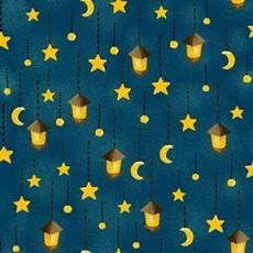 Patchworkstoff Beistoff Quilt Forest Fables Laternen Sterne Mond petrol gold gelb REST 40 x 110 cm RK11