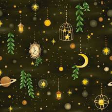 Patchworkstoff Stoff Quilt *Forest Fables* In der Nacht (mit Planeten)