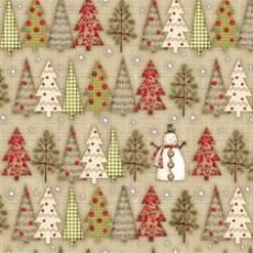 Patchworkstoff Quilt Stoff *Holiday Stiches* Schneemann mit Tannenbäume