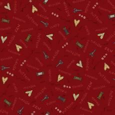 Patchworkstoff Quilt Beistoff *Home Sewn* Roter Stoff mit Schriftzug, Nadel und Schere