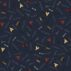 Patchworkstoff Quilt Beistoff *Home Sewn* Blauer Stoff mit Schriftzug, Nadel und Schere