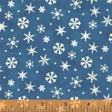 Patchworkstoff Quilt Stoff *Winter Wishes*weiße Schneeflocken auf blau