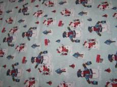 Patchworkstoff Stoff Quilt - *Frosty´n Fun* Schneemänner mit Vogelhäuschen