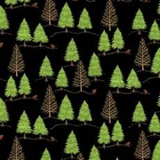 Patchworkstoff Quilt Stoff  Schwarzer Stoff mit Tannenbäumen