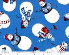 Patchworkstoff Weihnachten *Let It Snow* Schneemänner auf hellblauem Hintergrund