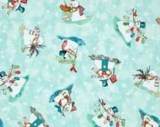 Patchworkstoff Weihnachten Beistoff *Warm Wishes* Schneemänner auf hellblau