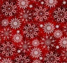 Patchworkstoff  Stoff Schneeflocken auf rotem Hintergrund