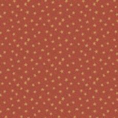 Patchworkstoff Quilt *Home for Christmas* Goldene Sterne auf rot/braunem Hintergrund