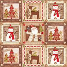 Patchworkstoff Quilt Beistoff *Holiday Stiches*Weihnachtsmotiv mit Quadraten