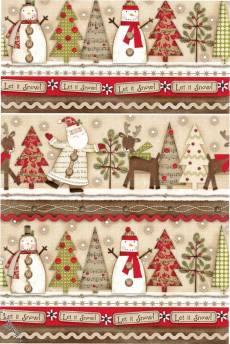 Patchworkstoff Quilt Streifenstoff *Holiday Stiches* Weihnachtsmotiv Weihnachtsmann, Tannenbaum, Rentier