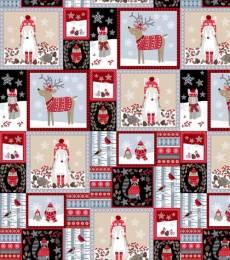 Patchworkstoff Quilt Stoff Tiere mit Weihnachtskleidung in Quadraten