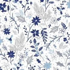 Patchworkstoff Beistoff Quilt *Blue Holidays* Wintermotiv mit Blumen und Glitzernden Akzenten