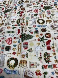 Stoff Quilt Patchworkstoff Weihnachtsmotive mit Gans, Zuckerstangen, etc.