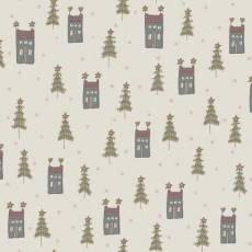 Patchworkstoff Quilt *Home for Christmas* Häuschen und Tannenbaum auf Creme