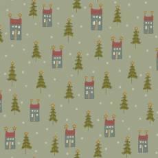 Patchworkstoff Quilt *Home for Christmas* Grüner Stoff mit Häuschen, Tannenbäumen
