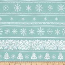 Patchworkstoff Quilt Streifenstoff Border; In mint mit Schneeflocken und Tannenbäumen