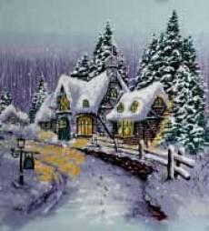 Patchworkstoff Quilt Stoff Panel 60cmx55cm *Snow Chatreau* Winter Cottage Winterhaus