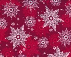 Patchworkstoff  Stoff Weihnachtsstoff Sterne auf rotem Hintergrund