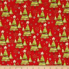 Patchworkstoff Quilt Panel Stoff *Believe in the Season* Weihnachtsbäume auf rot