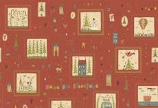 Roter Patchworkstoff Quilt *Home for Christmas* Weihnachtsmotive in Quadraten