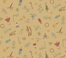 Patchworkstoff Quilt *Peace on Earth* Weihnachtsmotive(Engel, Kätzchen) auf beigem Hintergrund