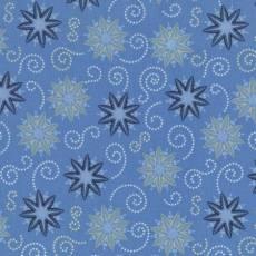 Patchworkstoff Quilt Weihnachtsstoff *Azure* Hellblauer Stoff mit Schneeflocken und Sternen