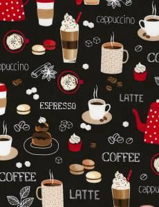 Patchworkstoff Stoff Quilt *Coffee* Black Kaffeetassen auf schwarzem Hintergrund