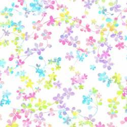 Patchworkstoff Quilt Stoff Watercolor kleine bunte Blumen Reststück von 110 x 140 cm