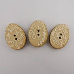 Knopf Holzknopf Osterei weiß Dekor 20 mm Zweilochknopf BLE050