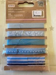 Glorex Dekobänder Deco Ribbons Lili Rose 5 x 1 m  Blau