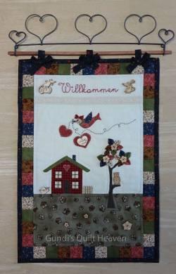 Nähanleitung Wandquilt`Willkommen`29cm x 42cm