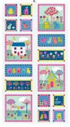 Patchworkstoff Quilt Panel *Doodle Days*  60x110cm Süße Katzen
