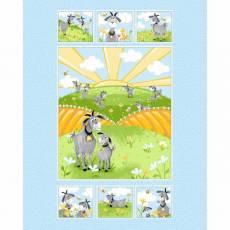 Patchworkstoff Quilt Stoff Panel `World of Susybee` 90x110cm Ziegen auf einer Wiese