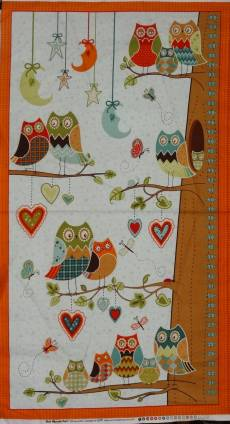 Patchworkstoff Quilt Stoff Messlatte orange Eule *Owl Wonderland*