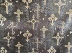 Patchworkstoff REST 20 x 110 cm keltisch Kreuz Gothic Style schwarz  CM4527-Blac