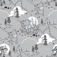 Winnie Puuh / Stoff Pooh und Freunde (Grauer Hintergrund)