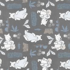 Winnie Puuh / Stoff Winnie Pooh *Blankets and Honey* Grau