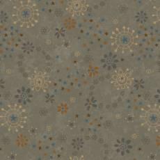 Patchworkstoff Quilt *My Back Porch* Blumen und Sternchen auf hellgrauem Hintergrund