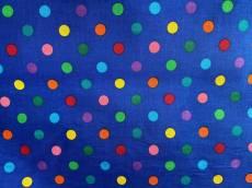 Patchworkstoff Stoff Blauer Stoff mit bunten Punkten