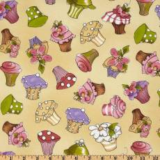 Patchworkstoff Stoff Quilt Cupcakes / Verstreute Cupcakes auf gelbem Hintergrund