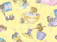 Patchworkstoff Stoff Quilt Mäuse mit Badezubehör auf gelb cute!