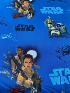 Patchworkstoff Quilt*Star Wars* Filmfiguren auf blau Reststück von 0,40 x 1,50 m
