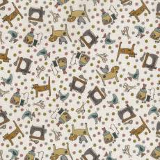 Patchworkstoff Lecien *One Stitch at a time* mit Nähthemen und Tieren in beige