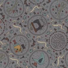 Patchworkstoff Lecien *One Stitch at a time* mit Nähthemen und Tieren in Kreisen grau