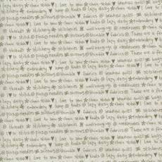 Patchworkstoff Lecien *One Stitch at a time* mit Schriftzug beige