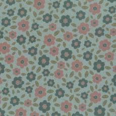 Patchworkstoff Lecien *One Stitch at a Time* mit Blumenmuster in grüngrau