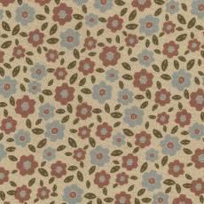 Patchworkstoff Lecien *One Stitch at a time* mit Blumenmuster in hellbraun